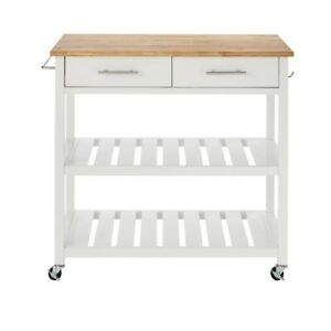 Details about Glenville White Double Kitchen Cart w/ Butcher Block Top Wood  Rolling Storage
