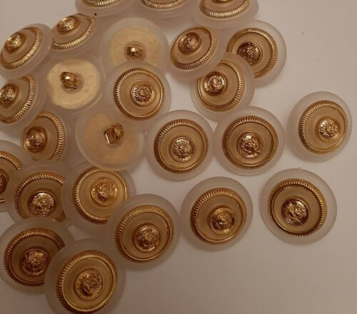 JL459 6 x 20mm large Opaque and Gold Plastic Shank Buttons