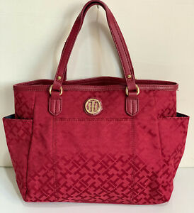 NEW-TOMMY-HILFIGER-MONOGRAM-LOGO-RED-SHOPPER-SATCHEL-TOTE-BAG-PURSE-89-SALE