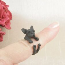 Matt Black Plated Cute Pug French Bulldog Dog Ring Size N - Adjustable