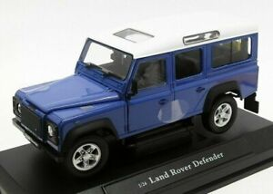 1-24-defensor-Land-Rover-Azul-Coche-Modelo-de-Metal-Clasico