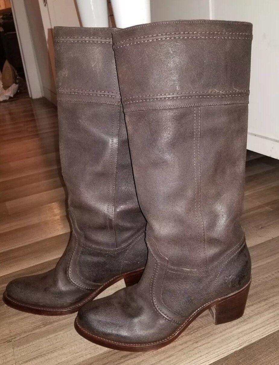 FRYE 77222 Jane Stitch Oiled Leather Dark Brown Knee High Boots 9B