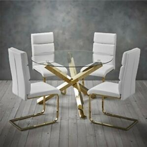 Capri Round Glass Top Dining Table With Gold Finished Legs 4 Antibes Chairs Ebay