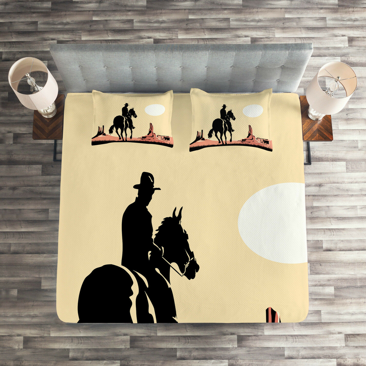 Western Quilted Coverlet & Pillow Shams Set, Cowboy Horse Sunset Print
