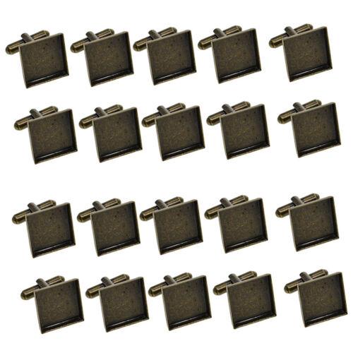 20x16mm Quadratische Leere Manschettenknöpfe Rohlinge Metall Rohling