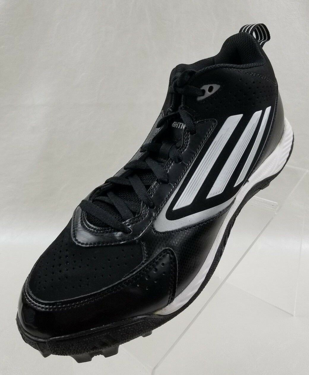 Adidas Football Cleats Lightning Mens Black White Lace Up Shoes Comfortable Brand discount