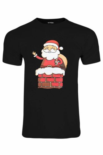 Mens Santa Snowman Scarf Christmas Short Sleeve Xmas Stretchy T Shirt Tee Top
