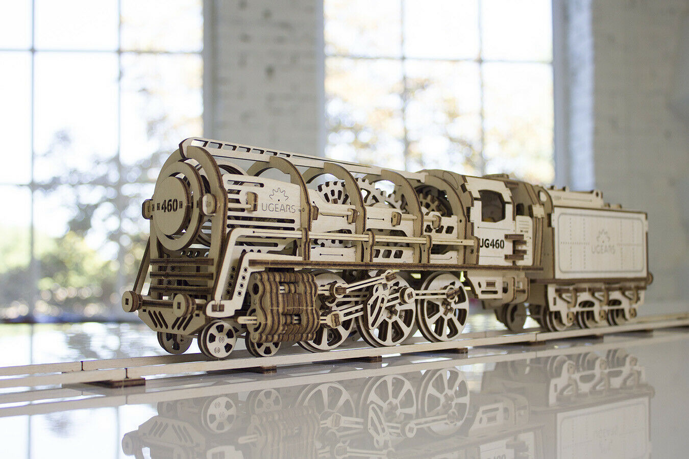 UGEARS 460 STEAM LOCOMOTIVE with TENDER Self-Propelled Wooden Model 3D Puzzle