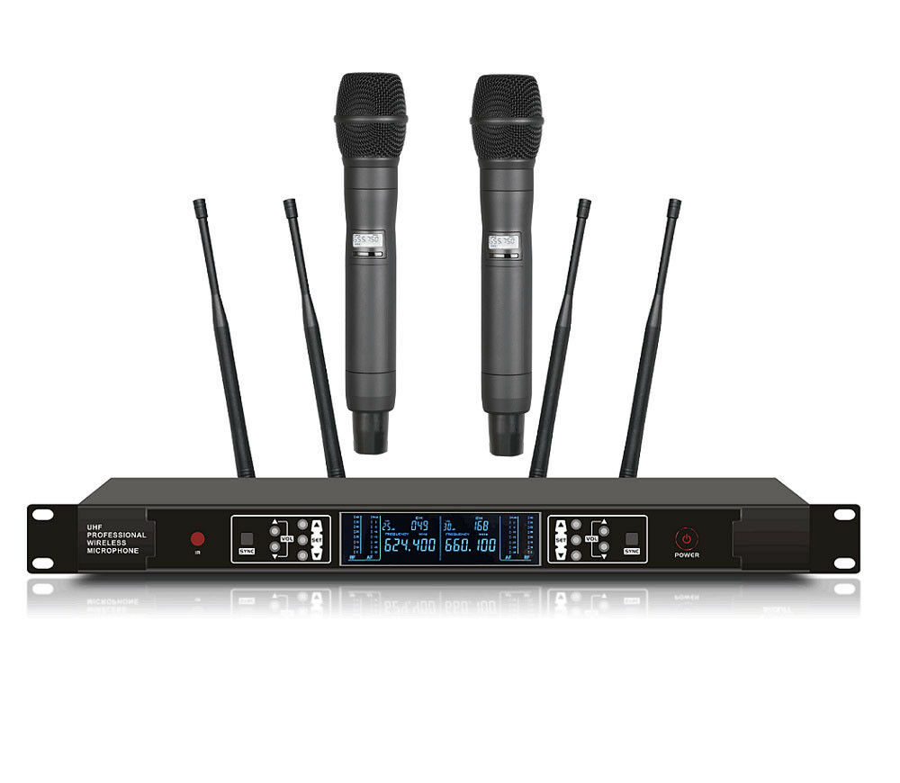 Dual Wireless Microphone System UHF Stage Performance Microphone Cordless UR24D