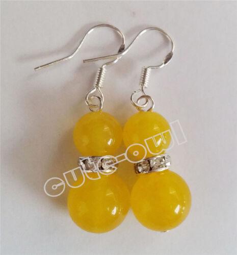 New Fashion Womens 925 Sterling Silver Dangle Hook Yellow Jade Earrings AAA+