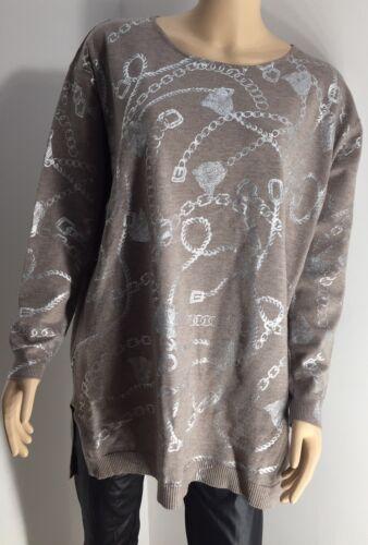 Soft 24 Fine Chain Designer Metallic Inspired Size Nuovo 16 Plus Knit Mocha Svwxw6YO