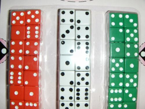 Green White Red Board game Cup Aggravation 5//8 Lucky Dice 48 Dice Carded