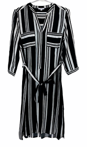 W Lane Womens Black/White Striped Long Sleeve Dress with Belt Size 10