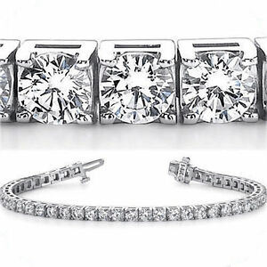 b87932bc14627 Details about 15.50 carat Round Brilliant Diamond Tennis Bracelet 14k white  Gold, 33 x 1/2 ct
