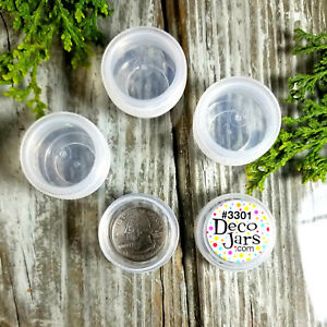 12-Plastic-JARS-Pot-Mini-Container-25-oz-1-4oz-size-3301-Clear-Cap-DecoJars-USA
