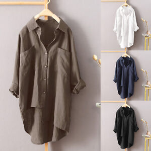 Women-Irregular-Buttons-Down-Asymmetrical-High-Casual-Shirt-Tops-Blouse-Plus-P