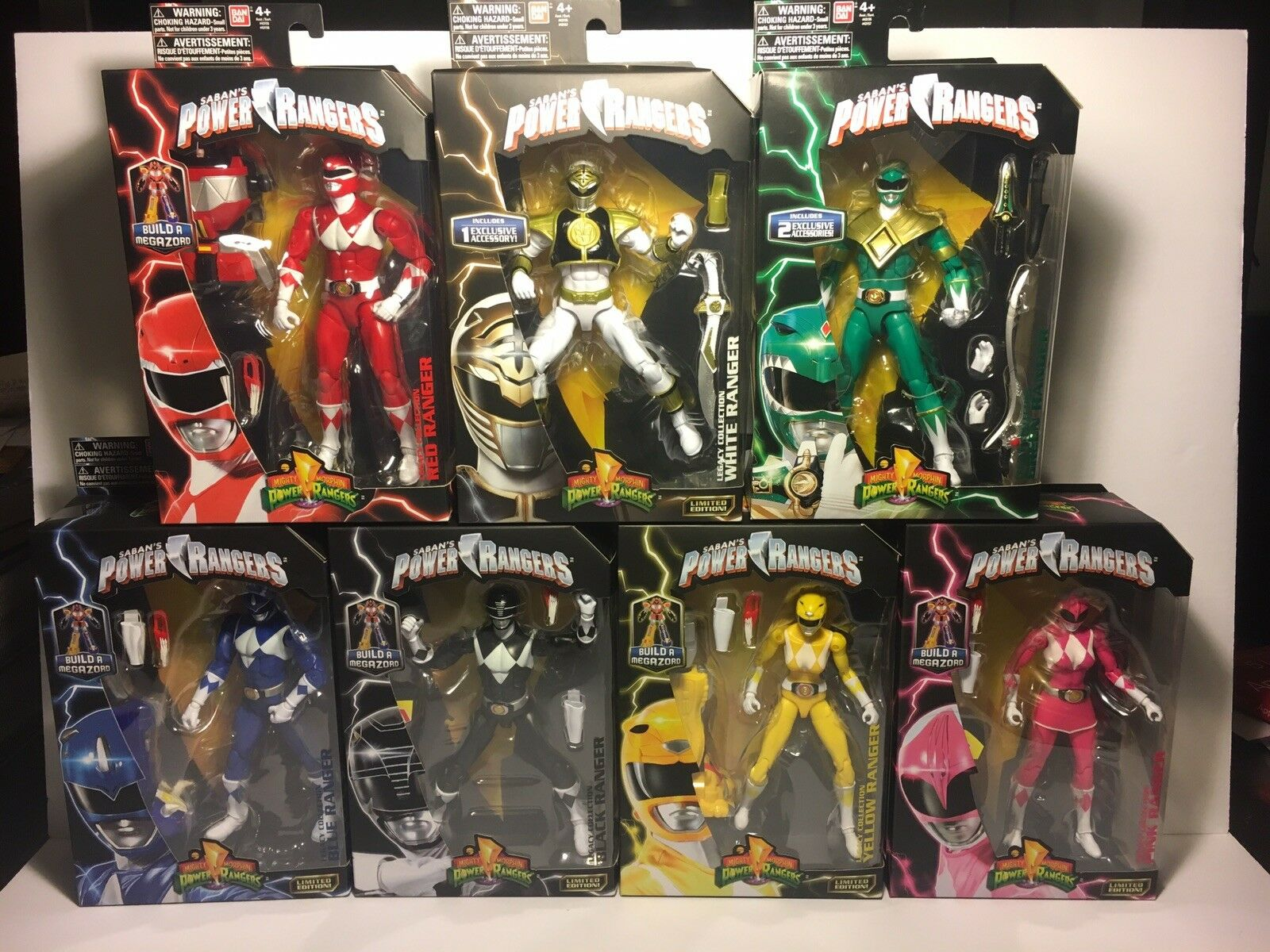 COMPLETE SET 7 POWER RANGERS Legacy Figure Megazord BAF WHITE RED RANGER