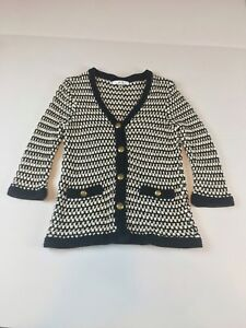 WOMENS CAbi Black and White Chunky Knit 868 Coco Cardigan SIZE S  c9861c7e2