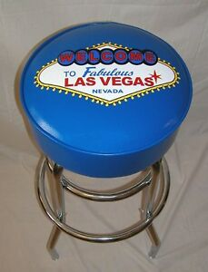 Welcome-To-Las-Vegas-Neon-Sign-Blue-Royal-Blue-Bar-Stool-Stools-NEW
