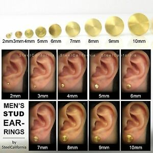 Image Is Loading Mens Gold Stud Earrings Brushed 24k Plated