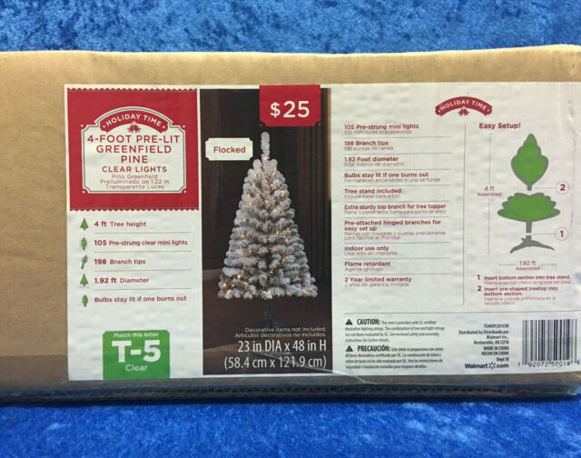Holiday Time 4\' Pre-Lit Greenfield Pine Clear Lights Christmas