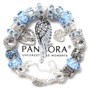 Pandora Bracelet Silver Angel Wing MOM Blue Family European Charms ... def0a636f