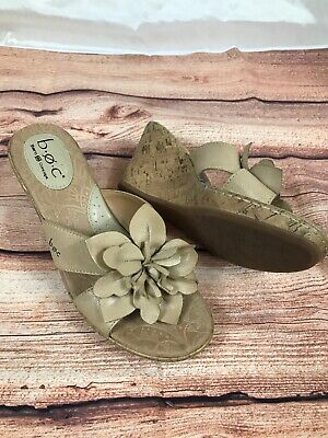 Women's B.O.C. Born Tan Leather Flower Cork Wedge Heel Slip On Sandals Size 8 | eBay