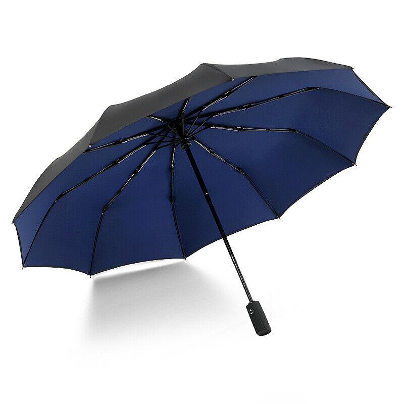 Krago Auto Open and Close 10 Fiberglass Ribs Double Canopy Umbrella Blue