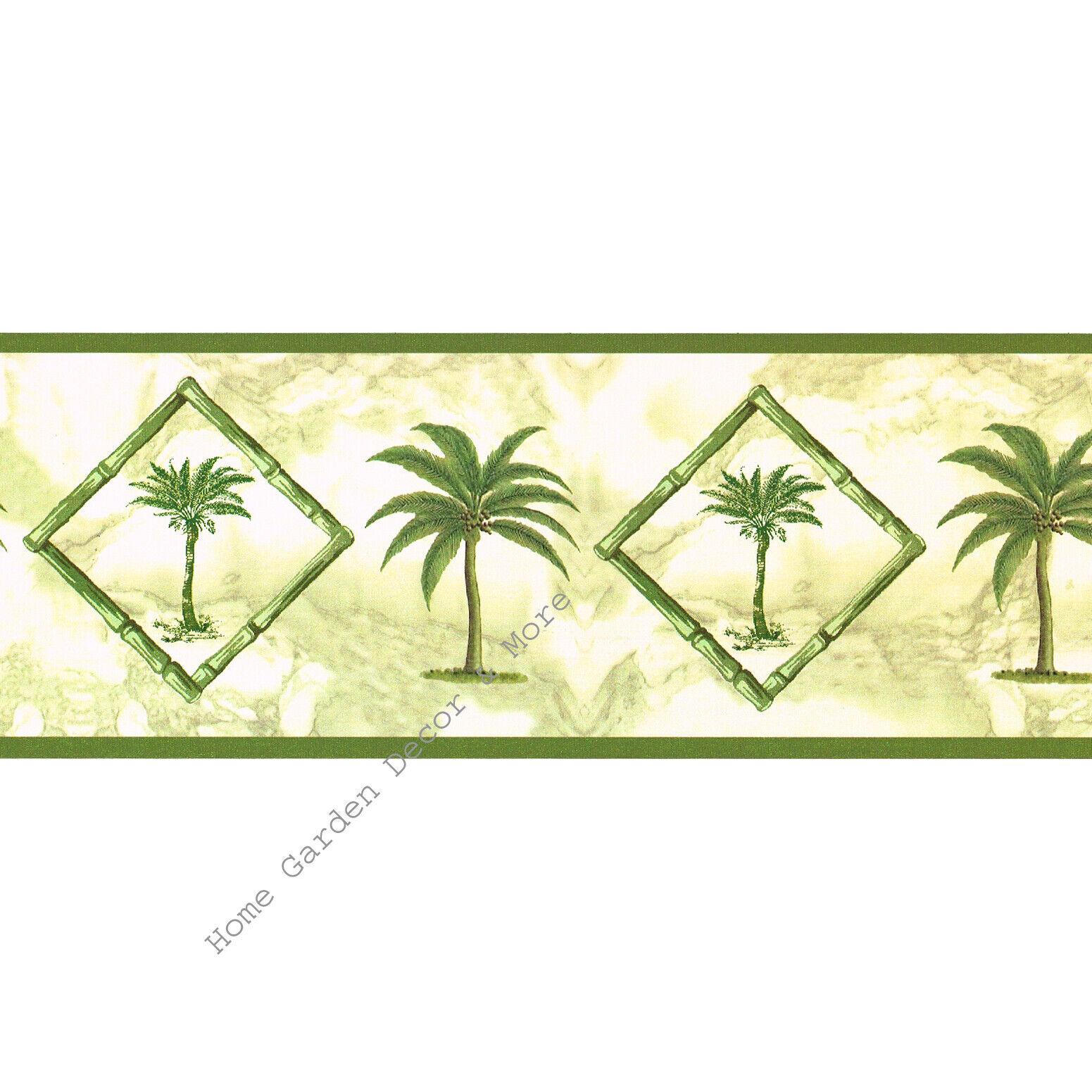 Coconuts on Palm Trees Latte Beige HV6012B Wallpaper Border