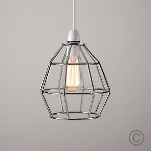 Modern chrome metal wire frame ceiling pendant light lamp shade image is loading modern chrome metal wire frame ceiling pendant light mozeypictures Image collections