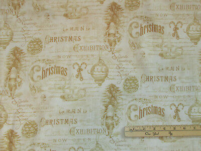 Christmas in the Wildwood Cardinal Winter Stripe Fabric by the 1//2 Yd #33803
