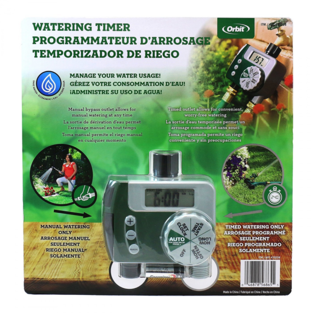 Orbit Garden Water Sprinkler 2 Outlet Digital Timer Set Model 56865