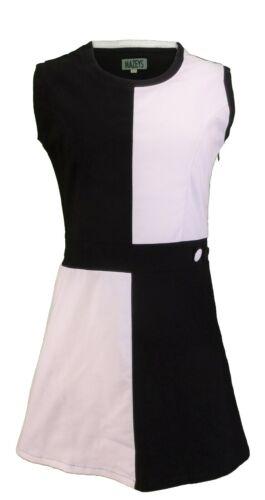 Damen 60er Retro Vintage Schwarz /& Weiß Quadrant Kleid