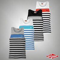 Mens Designer Lee Cooper Lightweight Striped Yarn Dye Vest Top Size S M L XL XXL