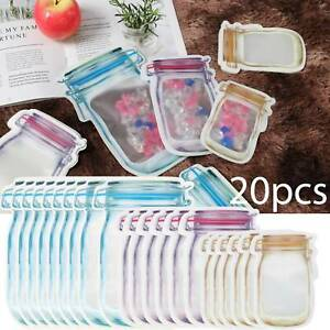 20pcs-Mason-Jar-Zipper-Bags-Food-Storage-Snack-Sandwich-Zip-lock-Reusable-Clear