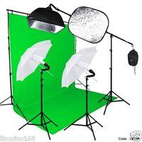 Photography Studio Lighting Video Light and Background Kit W/ Muslin Backdrop