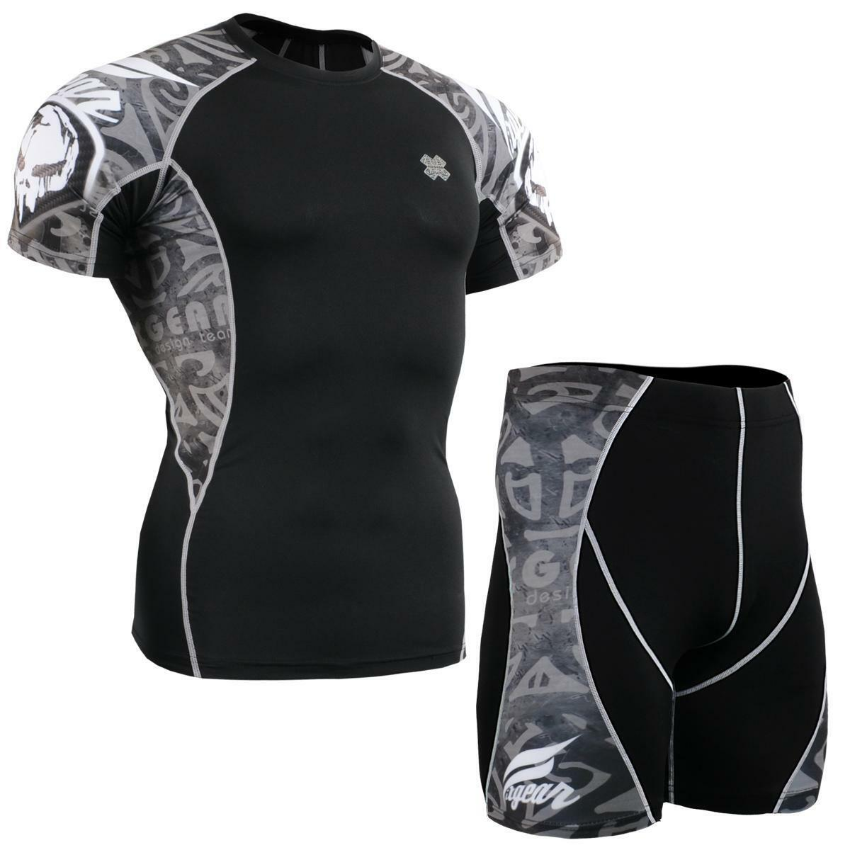 FIXGEAR C2S P2S-B43 SET Compression Shirts & Shorts Skin-tight MMA Training Gym