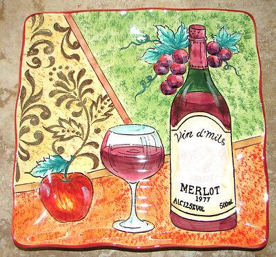 WINE FEST Square Serving Cheese Plate 9X9 MERLOT Red Vino Platter Gift idea NEW!