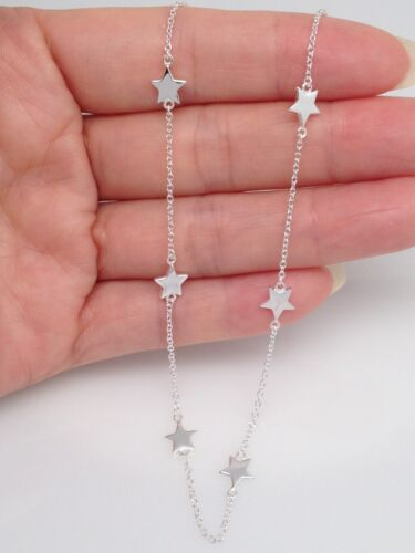"""Sterling Silver 925 Star Charm Necklace Star Station Chain 5.5mm 16-18/"""""""