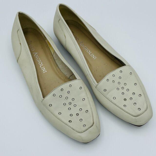 Enzo Angiolini Flat Slip On Loafers White Leather Rhinestone Studded Women's 9