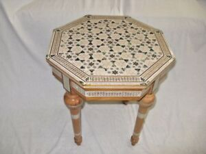 Egyptian Inlaid Mother of Pearl Mahogany Wood Living Room Table 17.75