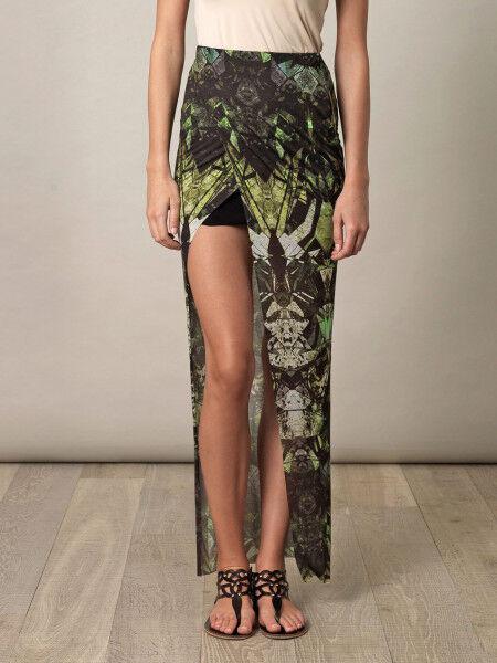 Helmut Lang Cicada Print Asymmetric Layered Wrap Skirt P XS