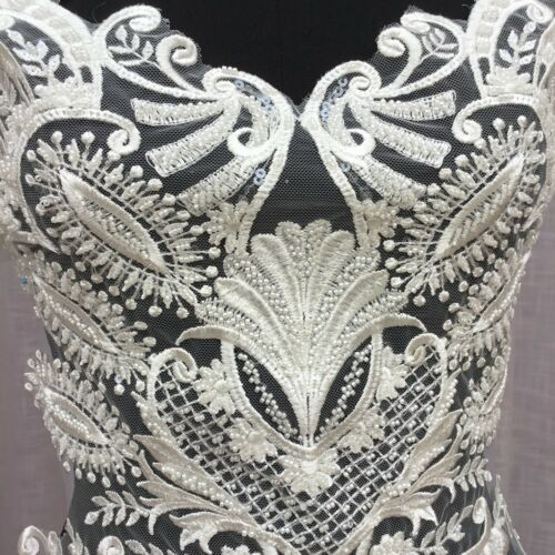 Wedding Dress Lace Applique Off White Bridal Embroidery Motif Beaded Trim 1 PC