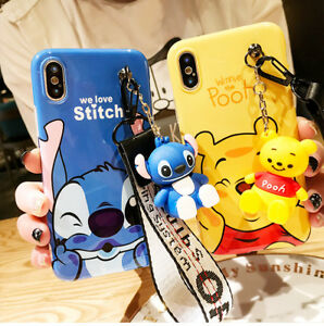 huge discount c3b74 26d34 Details about For iPhone XS Max XR 7 8 Cute Stitch Winnie Soft Case Cover &  Stand Doll & Strap