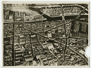 Paris-vue-aerienne-du-5e-arrondissement-Halles-aux-vin-Photo-vintage-1935