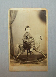 Old-Antique-Vtg-19th-C-1860s-CDV-Photo-Young-Boy-Large-Rocking-Horse-Very-Nice