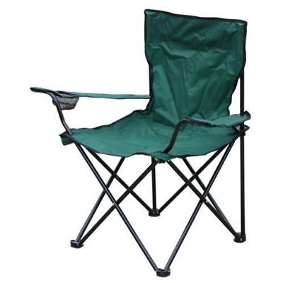 Green Folding Canvas Camping Outdoor Chair with Arms and Cup Holder Festival