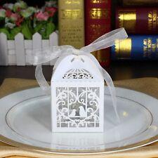 10 pcs Laser Cut White Love Birds Party Candy/Favor Box