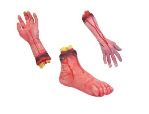 SCARY-SEVERED-BLOODY-HAND-ARM-FOOT-FAKE-BLOODY-HORROR-PROP-HALLOWEEN