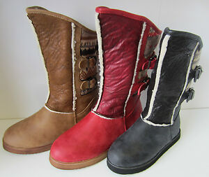 Filles-Spot-On-Noires-Tan-Rouge-Boots-RU-10-3-H4084
